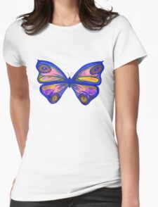 Watercolour Butterfly 1 (blue background) Womens Fitted T-Shirt