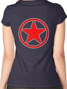 RED, STAR, CIRCLE, BADGE, Stardom, Power to the people! Red Dwarf, Stellar, Cosmic Women's Fitted Scoop T-Shirt