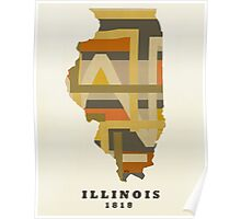 Illinois state map Poster