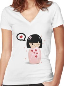 Japanese girl Women's Fitted V-Neck T-Shirt