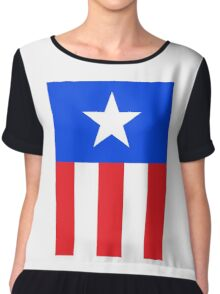AMERICAN, America, US, USA, Captain America, Star and stripes Chiffon Top