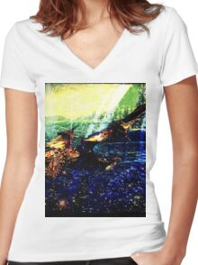 Dragon's Dreamland Women's Fitted V-Neck T-Shirt