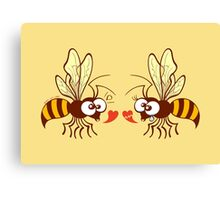 Couple of beautiful bees discussing about love Canvas Print