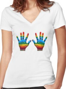 GAY PRIDE | RAINBOW HANDS | LOVE IS LOVE Women's Fitted V-Neck T-Shirt
