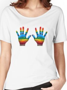 GAY PRIDE | RAINBOW HANDS | LOVE IS LOVE Women's Relaxed Fit T-Shirt