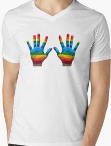 GAY PRIDE   RAINBOW HANDS   LOVE IS LOVE Mens V-Neck T-Shirt
