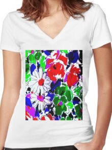 """LARGE COLOR FLOWER"" Art Deco Print Women's Fitted V-Neck T-Shirt"