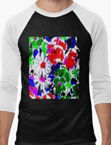 """LARGE COLOR FLOWER"" Art Deco Print Men's Baseball ¾ T-Shirt"