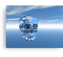 Blue Real Human Skull in 3D Canvas Print