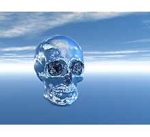 Blue Real Human Skull in 3D Photographic Print