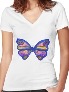 Watercolour Butterfly 1 (Purple) Women's Fitted V-Neck T-Shirt