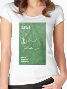 Jaws Movie Poster Design Women's Fitted Scoop T-Shirt