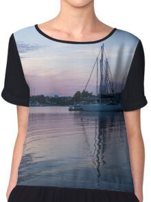 Soft Purple Ripples - Yachts and Clouds Reflections Chiffon Top
