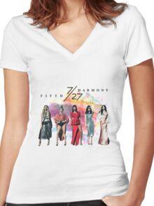 Fifth Harmony 7/27 Splash Women's Fitted V-Neck T-Shirt