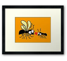 Shy worker ant declaring its love to the queen ant Framed Print