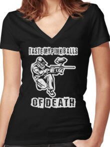 Taste My Pinkballs Of Death Women's Fitted V-Neck T-Shirt