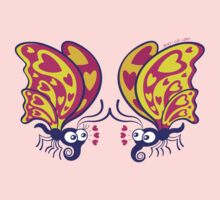 Couple of beautiful butterflies madly falling in love One Piece - Long Sleeve