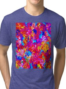 """FLOWER ABSTRACT"" Painting Colorful Print Tri-blend T-Shirt"