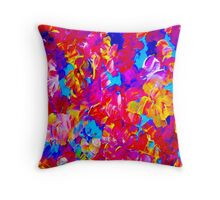 """FLOWER ABSTRACT"" Painting Colorful Print Throw Pillow"