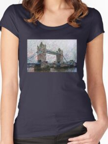 London Tower Bridge Mapped Women's Fitted Scoop T-Shirt