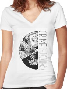 Crime Noir Women's Fitted V-Neck T-Shirt