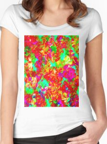 """ABSTRACT FLOWER GARDEN"" Painting Print Women's Fitted Scoop T-Shirt"