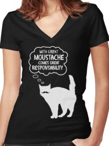 With Great Moustache Women's Fitted V-Neck T-Shirt