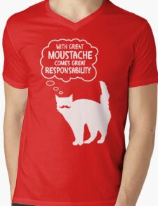 With Great Moustache Mens V-Neck T-Shirt