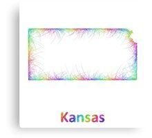 Rainbow Kansas map Canvas Print