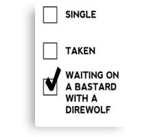 Game of Thrones - B*stard with a Direwolf Canvas Print