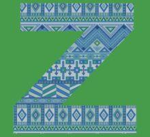 Letter Z Blue Aztec Stripes Pattern Boho Monogram Initial Kids Tee