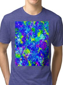 """PSYCHEDELIC FLOWER GARDEN"" Abstract Painting Print Tri-blend T-Shirt"
