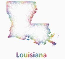 Rainbow Louisiana map Kids Tee