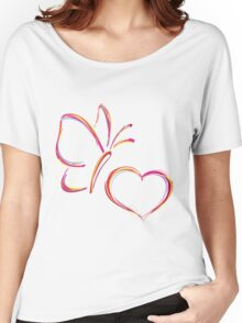 Heart and butterfly Women's Relaxed Fit T-Shirt