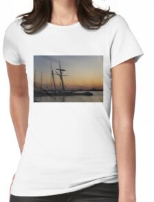 Climbing the Rigging - Sailors Silhouettes at the Hudson River Waterfront, New York City Womens Fitted T-Shirt