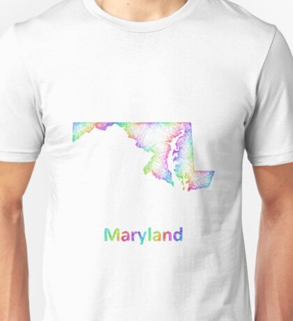 Rainbow Maryland map Unisex T-Shirt