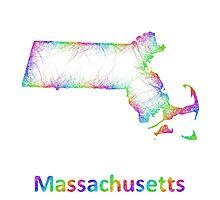 Rainbow Massachusetts map Photographic Print