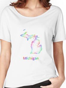 Rainbow Michigan map Women's Relaxed Fit T-Shirt