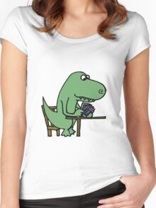 Funny T-Rex Dinosaur Playing Cards  Women's Fitted Scoop T-Shirt