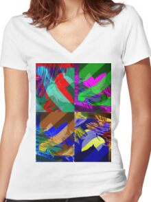 Psychedelic Panels  Women's Fitted V-Neck T-Shirt