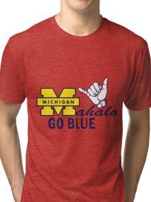Go Blue HAWAII! Mahalo Tri-blend T-Shirt