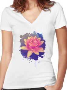 Secret Garden | Water lily Women's Fitted V-Neck T-Shirt
