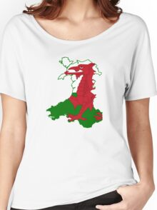 Flag Map of Wales  Women's Relaxed Fit T-Shirt