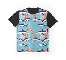 Graphic pattern of swimming sharks Graphic T-Shirt
