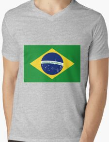 Brazil Flag Mens V-Neck T-Shirt