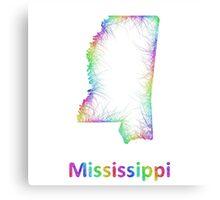 Rainbow Mississippi map Canvas Print