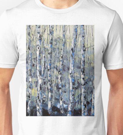 Winter Birch lll by Lisa Elley. Palette knife painting in oil Unisex T-Shirt