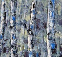 Winter Birch lll by Lisa Elley. Palette knife painting in oil Sticker