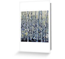 Winter Birch lll by Lisa Elley. Palette knife painting in oil Greeting Card