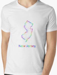 Rainbow New Jersey map Mens V-Neck T-Shirt
